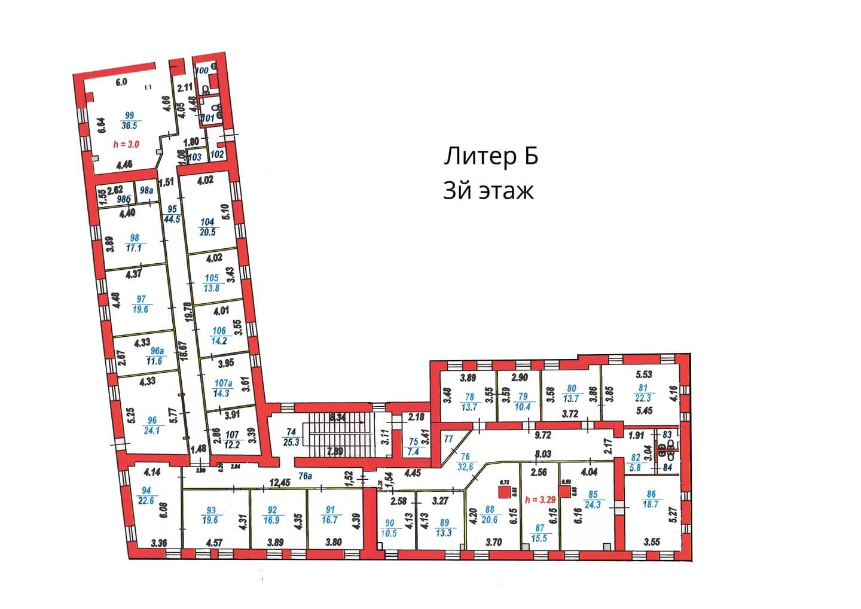 План 3 этажа литера Б